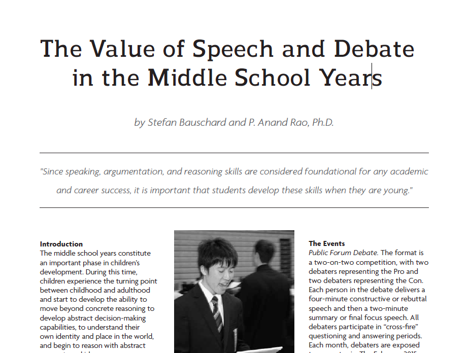 The Value of Speech and Debate in the Middle School Years